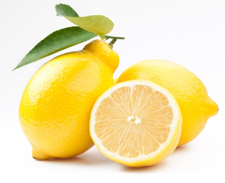 High-quality photo ripe lemons on a white background photo