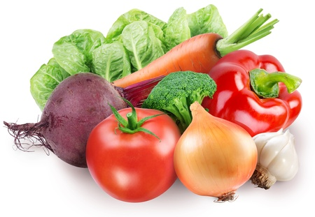 Image of fresh vegetables on white background photo