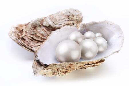 ostra: Perlas de placer de imagen en un shell en un fondo blanco. Foto de archivo