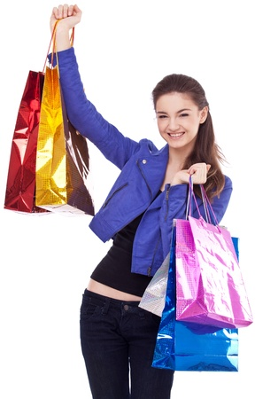 Image of girl with their purchases. Isolated on white background. Stock Photo - 8718511
