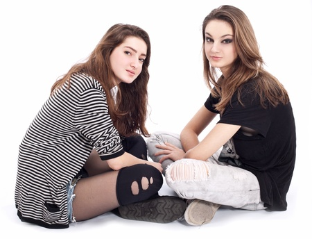 two friends talking: Two friends talking to each other. The image is isolated on a white background.