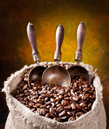 Sack of coffee beans and scoop. On a dark background. photo