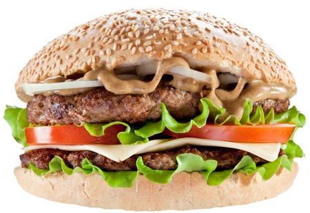 Tasty hamburger on white background. Stock Photo - 9074248