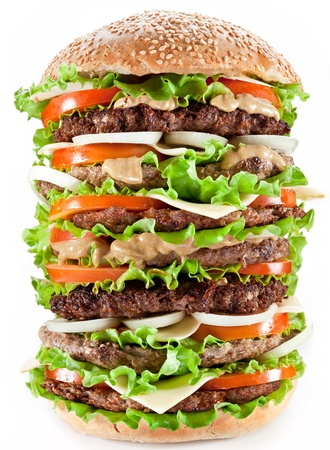 steak sandwich: Gigantic hamburger on white background.