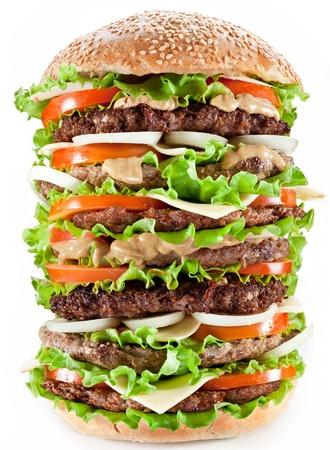 gigantesque: Hamburger gigantesque sur fond blanc. Banque d'images