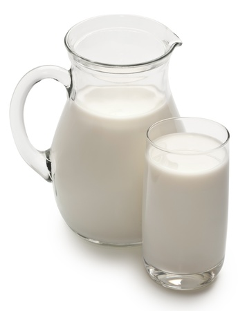 glass of milk: Glass and jar of milk on a white background.. File contains a path to cut.