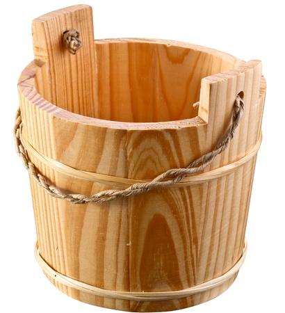 Empty wooden bucket. photo