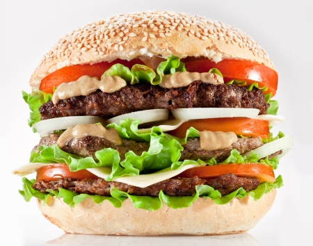 steak sandwich: Tasty hamburger on white background. Stock Photo