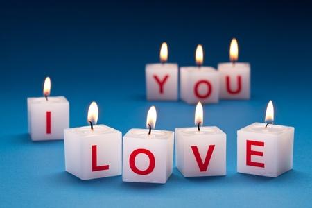 liebe: Ich liebe dich auf Kerzen gedruckt.