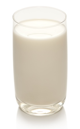 glass of milk: Glass of milk on a white background.
