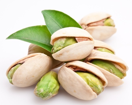 Pistachio nuts. Isolated on a white background. photo