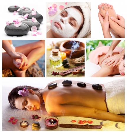 facial spa: Collection of spa treatments and massages.