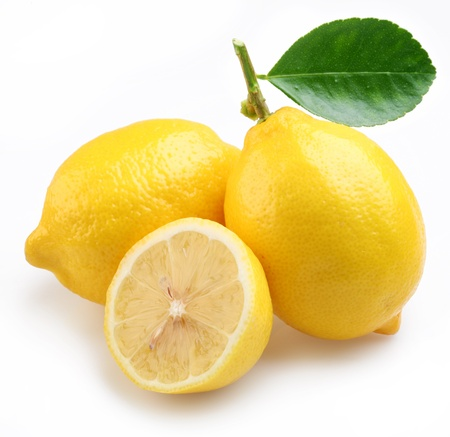 Lemons on a white background. Stock Photo