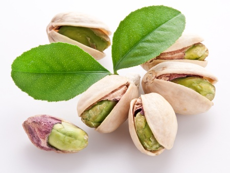 hard core: Pistachio nuts. Isolated on a white background. Stock Photo