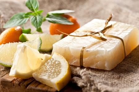Morceau de savon au citron à la main. Banque d'images - 9976443