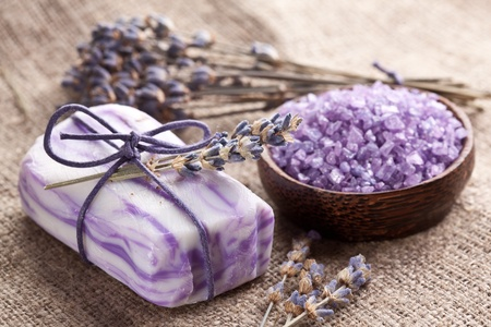Soap with sea-salt and dried lavender. photo