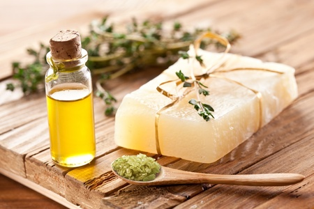 Piece of natural soap with thyme. Reklamní fotografie - 9976458