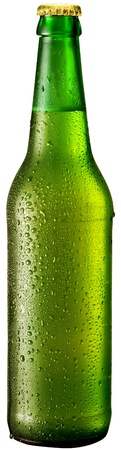 dewed: Bottle of beer with drops on white background. The file contains a path to cut.
