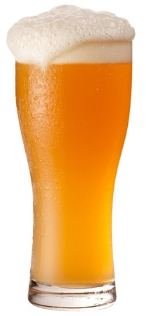 beer foam: Frosty glass of unfiltered beer isolated on a white background. File contains a path to cut.