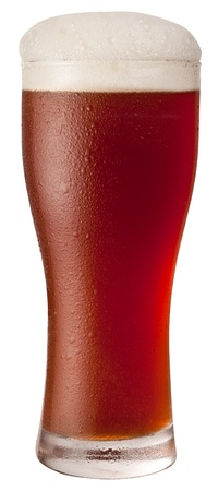 booze: Frosty glass of red beer isolated on a white background.