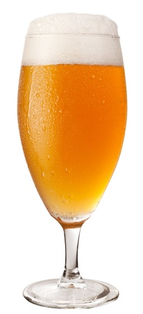 unbottled: Frosty glass of unfiltered beer isolated on a white background. File contains a path to cut.
