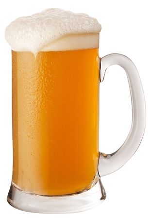 wheat beer: Frosty glass of unfiltered beer isolated on a white background.