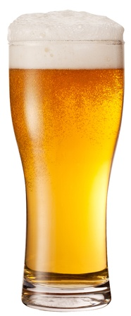 Frosty glass of light beer isolated on a white background.  photo