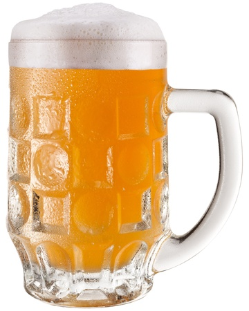 unfiltered: Frosty glass of unfiltered beer isolated on a white background. File contains a path to cut.