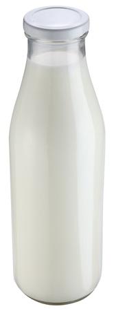 Milk bottle isolated on a white background.  photo