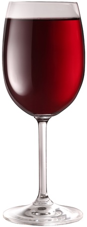 Glass of red wine isolated on a white background. photo