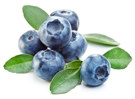 bilberries: Blueberries with leaves on white background.