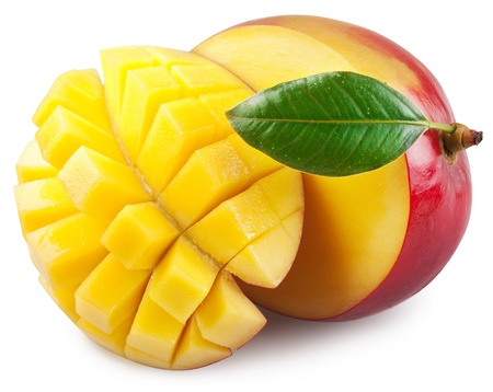 mangoes: Mango with section on a white background.  Stock Photo