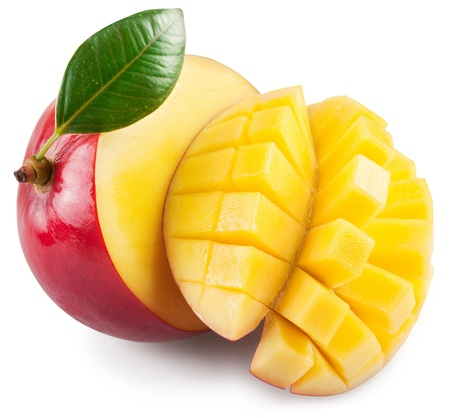Mango with section on a white background.  Stock Photo