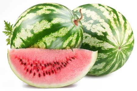 Watermelon with slice isolated on white background. photo