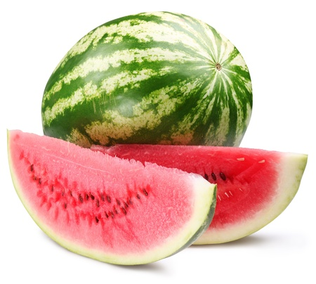 Watermelon with slices isolated on white background.