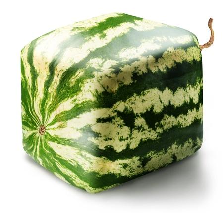 mutation: Cubic watermelon on white background.
