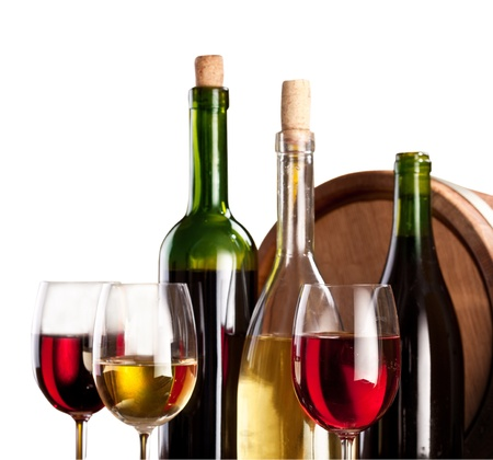 brown cork: Wine bottles and glasses on a white background.