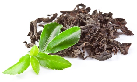 Heap of dry tea with green tea leaves isolated on a white background. photo