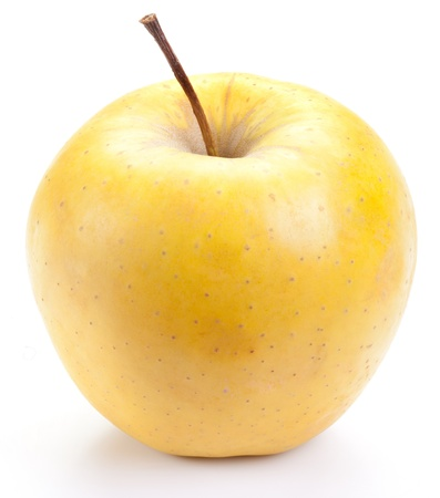gold yellow: Juicy yellow apple, isolated on a white background.