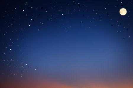 Starry sky with the moon in the evening. Stock Photo - 10613125