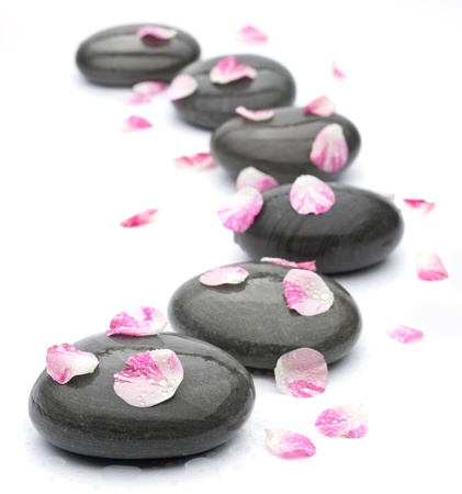 equipoise: Spa stones with rose petals on white background. Stock Photo