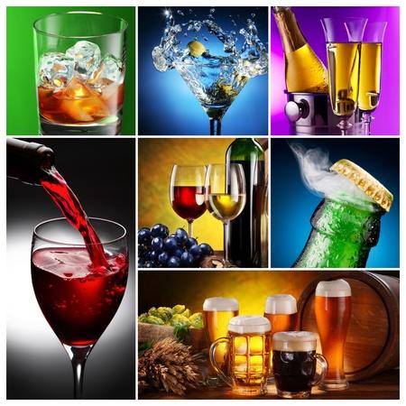 bouteille champagne: Collection d'images de l'alcool de différentes manières. Banque d'images