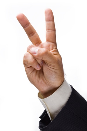 businessman hand showing a sign. Isolated on a white background. photo