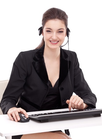 sales agent: Smiling young woman - operator.Customer support. Stock Photo