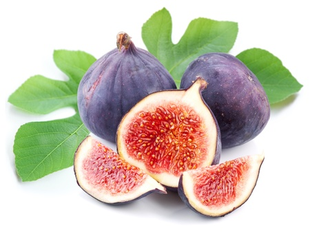 purple fig: Fruits figs on white background  Stock Photo