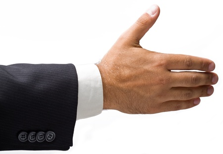 welcoming: handshake, men and women on a white background  Stock Photo