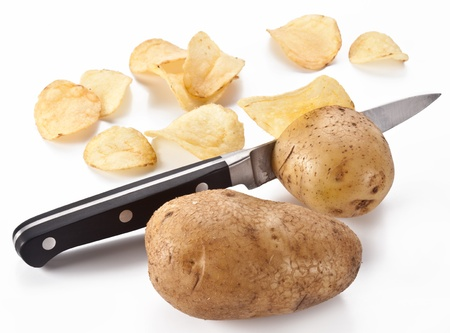 obtained: Conceptual image - the knife cuts fresh potatoes and potato chips are obtained.