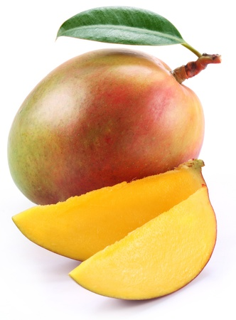 mango fruit: Mango with slices on a white background.