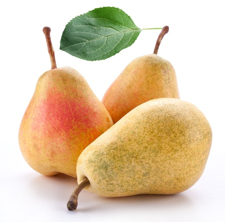 triplet: Pears on a white background