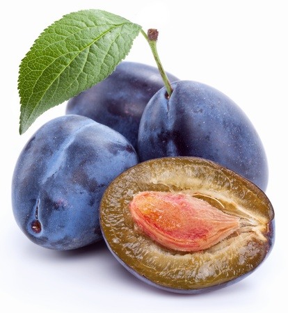 purple leaf plum: Group of plums with leaf isolated on a white background.